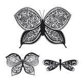 在黑色的被仿造的蝴蝶在一个空白背景 库存例证