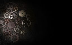 在黑色的金属齿轮 免版税库存图片