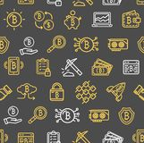 在黑色的Bitcoin货币无缝的样式背景 向量 图库摄影