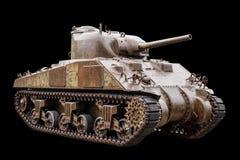 在黑色的M4谢尔曼坦克 免版税库存照片