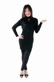 在黑色礼服的亚洲设计 免版税库存图片