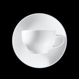 在黑色背景的空白杯子 免版税库存照片