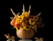 在黑色隔绝的南瓜的原始的秋天构成 库存图片