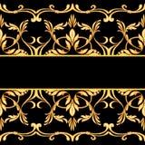在黑色隔绝的无缝的巴洛克式的边界 库存例证