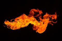 在黑色隔绝的灼烧的火焰 免版税库存图片