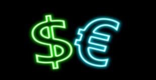 在黑色隔绝的美元$ â '¬欧洲财务霓虹灯广告焕发 免版税库存图片