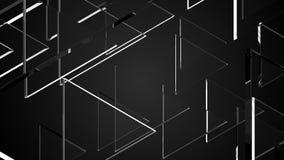 在黑色,回报计算机生成的摘要的3D的许多玻璃时髦的透明三角 库存例证