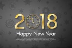 在黑葡萄酒背景的金黄新年2018年概念 库存图片