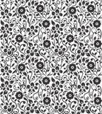 在黑N白色的花卉传染媒介样式 向量例证
