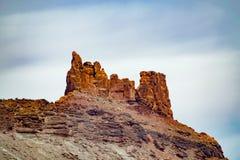 在默阿布犹他附近的砂岩尖顶 库存照片