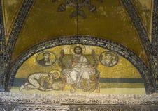 在鼓膜的马赛克在圣索非亚大教堂的皇家门 库存图片