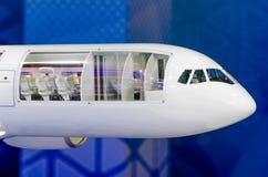 在鼻子零件和驾驶舱的部分的飞机 库存图片