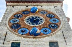 在齐默尔塔, Lier,比利时的周年纪念时钟 库存图片