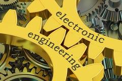 在齿轮的电子工程学概念, 3D翻译 库存例证