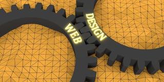 在齿轮的网和设计文本 免版税图库摄影