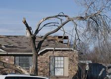 在龙卷风以后的广泛的破坏 库存图片