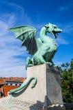 在龙桥梁,卢布尔雅那,斯洛文尼亚的龙 免版税图库摄影