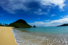 在龙目岛海岛,印度尼西亚的库塔海滩 免版税库存图片