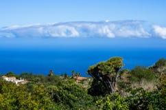 在龙血树和棕榈的看法向拉帕尔玛岛西北部的大西洋  免版税库存照片