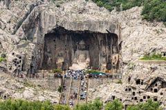 在龙门石窟的Fengxiangsi洞在洛阳,河南,中国 库存图片