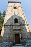 在13。世纪建立的Rača修道院的尖顶 免版税图库摄影