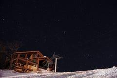 在登上长白的满天星斗的天空 免版税库存图片