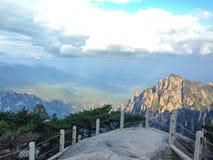 在登上黄山,安徽,中国的风景点 库存图片
