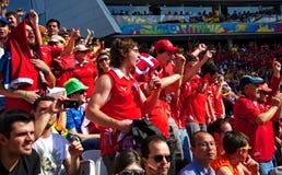 在2014年世界杯足球赛的智利爱好者 库存照片