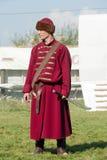 在18世纪俄国军队制服的Reenactor 库存图片