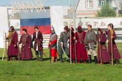 在18世纪俄国军队制服的Reenactors 库存图片