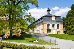 在18世纪在古典样式Kozel的狩猎城堡修造的, Pilsen地区,西部波希米亚,捷克共和国 库存图片