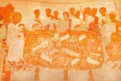 在6世纪大卫Gareji洞修道院的土气古老壁画的最后的晚餐 科教文组织世界遗产站点 库存照片