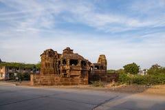 在6世纪广告修建的美丽的被雕刻的古老耆那教的寺庙在Osian,印度 库存图片