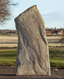 在从9世纪的诗歌盖的石头 免版税库存图片