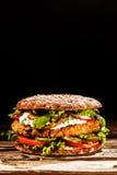 在整个五谷小圆面包的健康汉堡 免版税库存图片