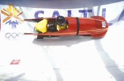 在2002个冬季奥运会的雪撬展览,盐湖城, UT 库存图片
