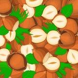在整个壳的榛子坚果背景接近留间隔的可口传染媒介例证胡说的样式核桃果子 免版税库存照片