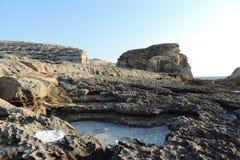 在整个岩石的盐,戈佐岛,马耳他 库存图片