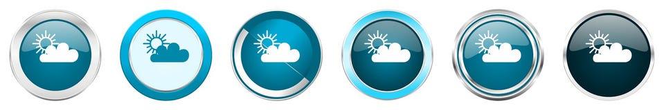 在6个选择的云彩银色金属镀铬物边界象,被设置在白色背景隔绝的网蓝色圆的按钮 向量例证