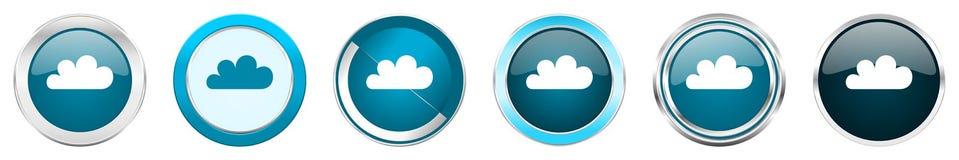 在6个选择的云彩银色金属镀铬物边界象,被设置在白色背景隔绝的网蓝色圆的按钮 库存例证