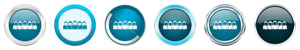 在6个选择的人银色金属镀铬物边界象,被设置在白色背景隔绝的网蓝色圆的按钮 库存例证