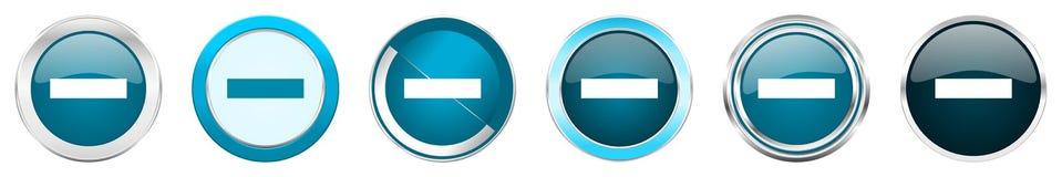 在6个选择的减去银色金属镀铬物边界象,被设置在白色背景隔绝的网蓝色圆的按钮 向量例证