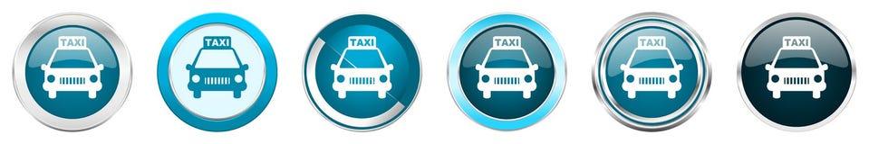 在6个选择的出租汽车银色金属镀铬物边界象,被设置在白色背景隔绝的网蓝色圆的按钮 皇族释放例证