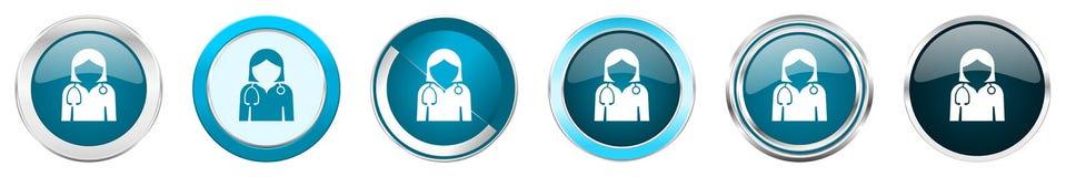 在6个选择的医生银色金属镀铬物边界象,被设置在白色背景隔绝的网蓝色圆的按钮 库存例证