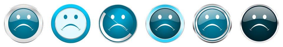 在6个选择的哭喊银色金属镀铬物边界象,被设置在白色背景隔绝的网蓝色圆的按钮 皇族释放例证