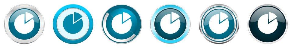 在6个选择的图银色金属镀铬物边界象,被设置在白色背景隔绝的网蓝色圆的按钮 向量例证