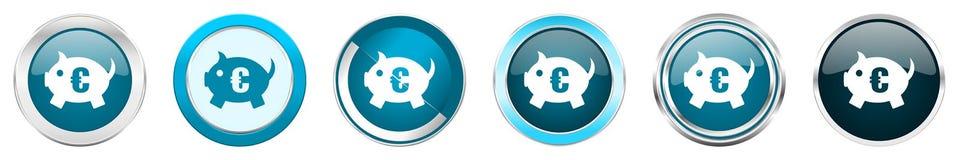 在6个选择的存钱罐银色金属镀铬物边界象,被设置在白色背景隔绝的网蓝色圆的按钮 皇族释放例证