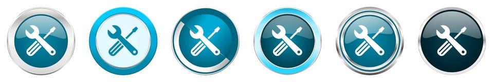 在6个选择的工具银色金属镀铬物边界象,被设置在白色背景隔绝的网蓝色圆的按钮 皇族释放例证