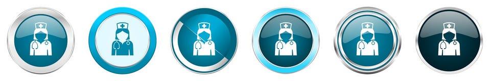 在6个选择的护士银色金属镀铬物边界象,被设置在白色背景隔绝的网蓝色圆的按钮 库存例证