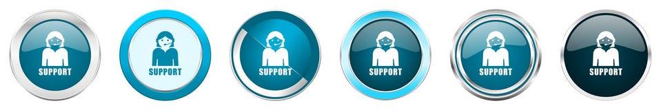 在6个选择的支持银色金属镀铬物边界象,被设置在白色背景隔绝的网蓝色圆的按钮 向量例证